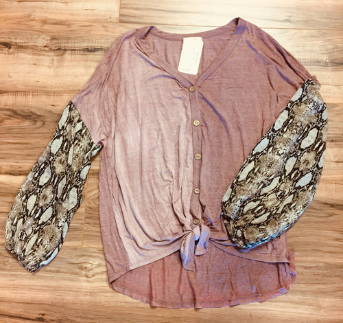 Snakeskin Sleeve Button Up Top in Plus