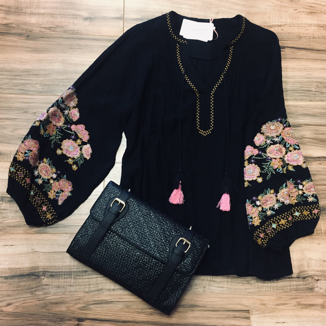 Black Embroidered Peasant Top in Plus