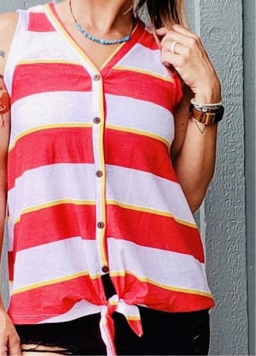 Striped Tie High-Low Tank