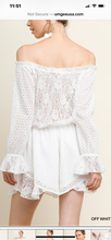 White Eyelet and Lace Romper
