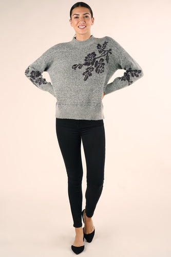 Metallic Flower Sweater