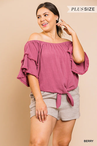 Berry Fringe Top in Plus
