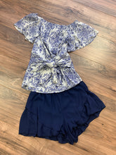Navy Ruffle Short