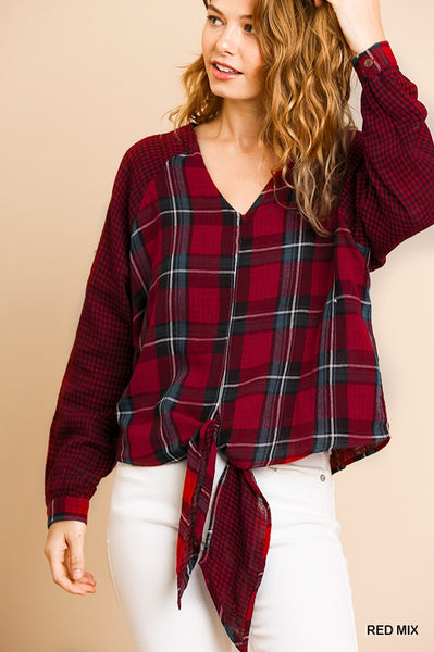 Red Plaid top