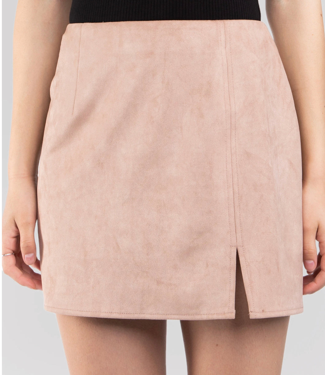 Blush Suede Mini Skirt