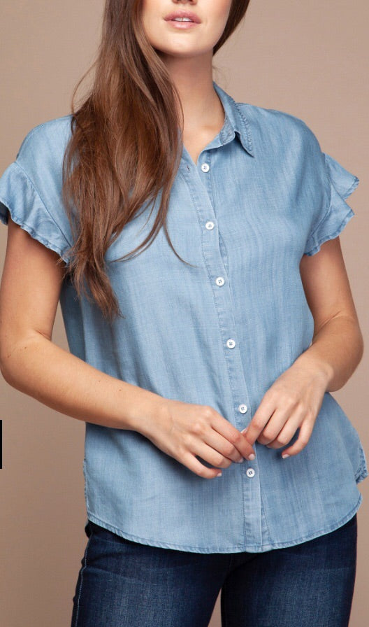 Ruffle sleeve denim button up