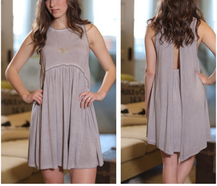 Jersey slate babydoll dress