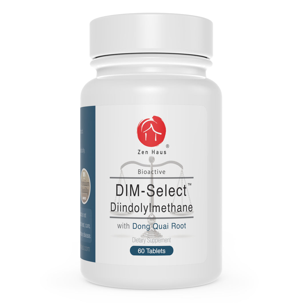 Zen Haus DIM-Select™ 130 mg DIM Supplement Plus BioPerine, Dong Quai Root and Broccoli Extract - Estrogen Balance, Menopause Relief, Body Building Support, Aromatase Inhibitor, Hormonal Acne Treatment