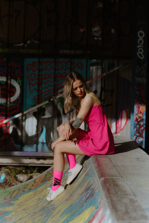 Hailey Slip Dress - Hot Pink and Neon Green Night Dress