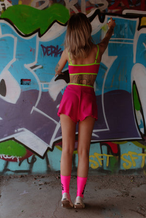 Hailey Crop Top - Hot Pink Lace & Lycra V Neck Bralette With Neon Green Elastic