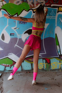 Hailey PJ Shorts - Hot Pink Lycra and Lace Shorts