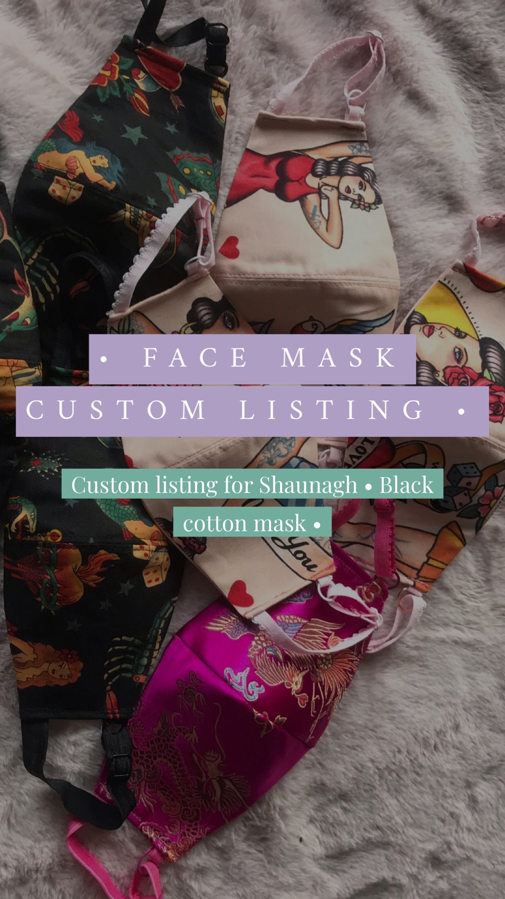 Custom listing - Black cotton face mask for Shaunagh