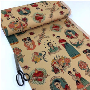 Handmade face mask - beige FRIDA print cotton facemask