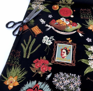 Handmade face mask - Black FRIDA print #2 cotton facemask