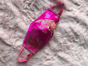 Handmade face mask - hot pink Japanese embroidered satin