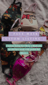 Custom listing for Olivia - Black pin up girl facemask