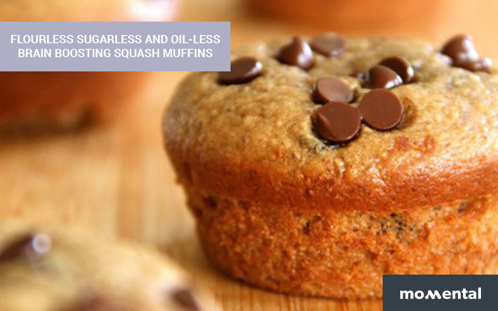 Flourless Sugarless and Oil-less Brain Boosting Squash Muffins | Momental Nootropics