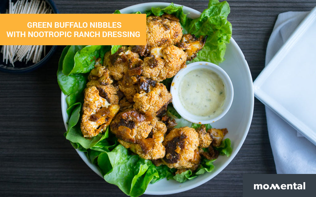 Green Buffalo Nibbles with Nootropic Ranch Dressing | Momental