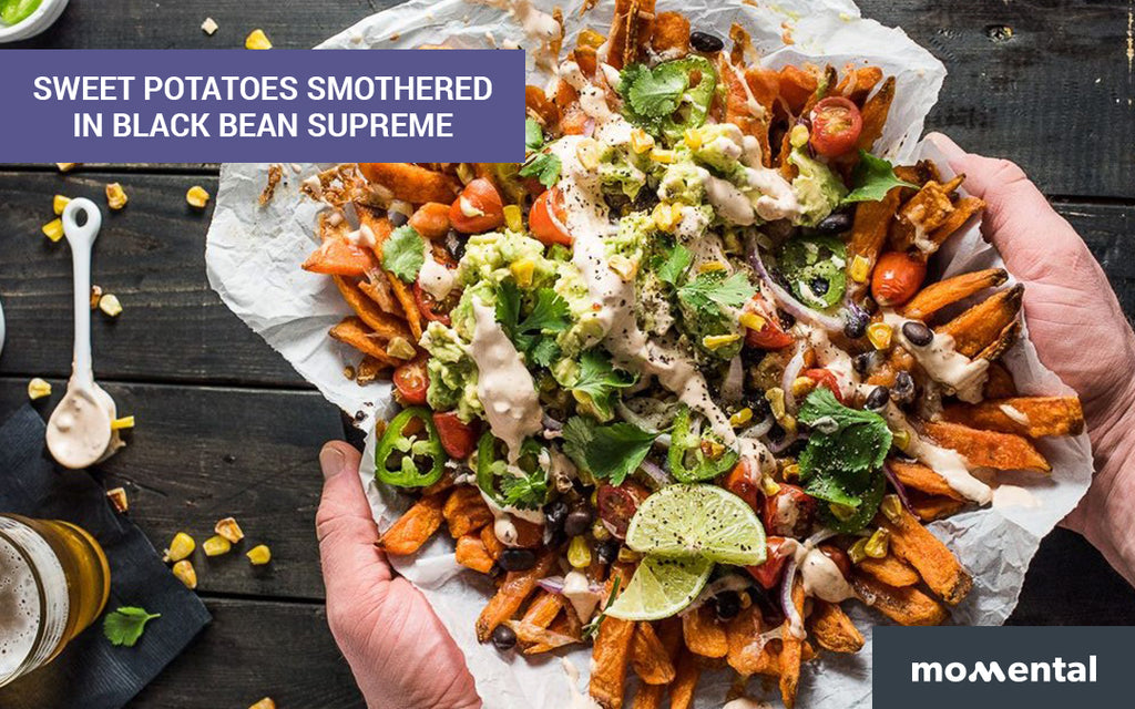 Sweet Potatoes Smothered in Black Bean Supreme | Momental Nootropics