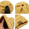 Ponytail Beanie Soft Knit Cap