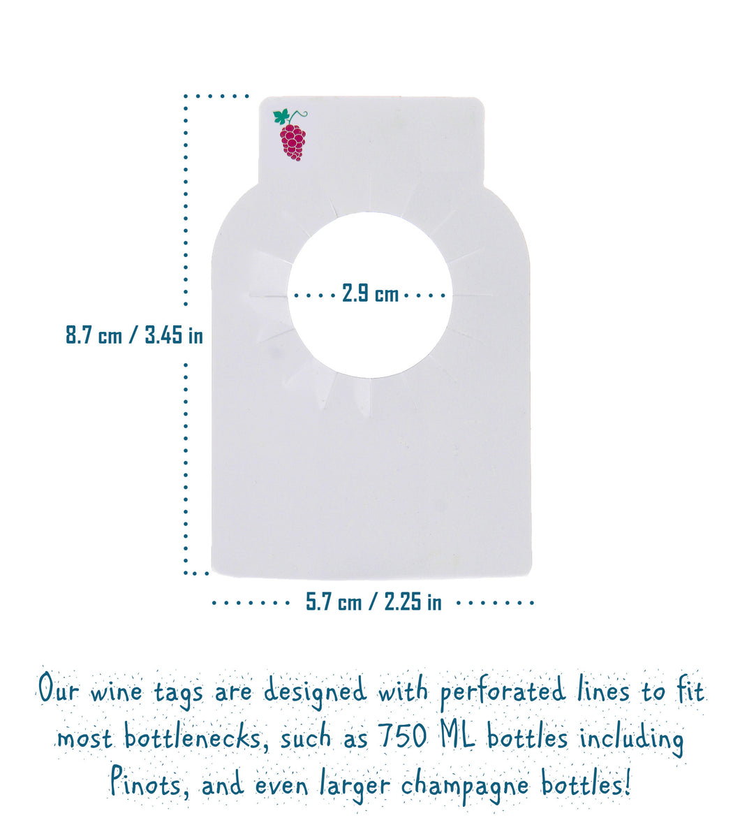 Reusable Plastic Wine Bottle Tags 120 Pieces Dual Two Sided Custom