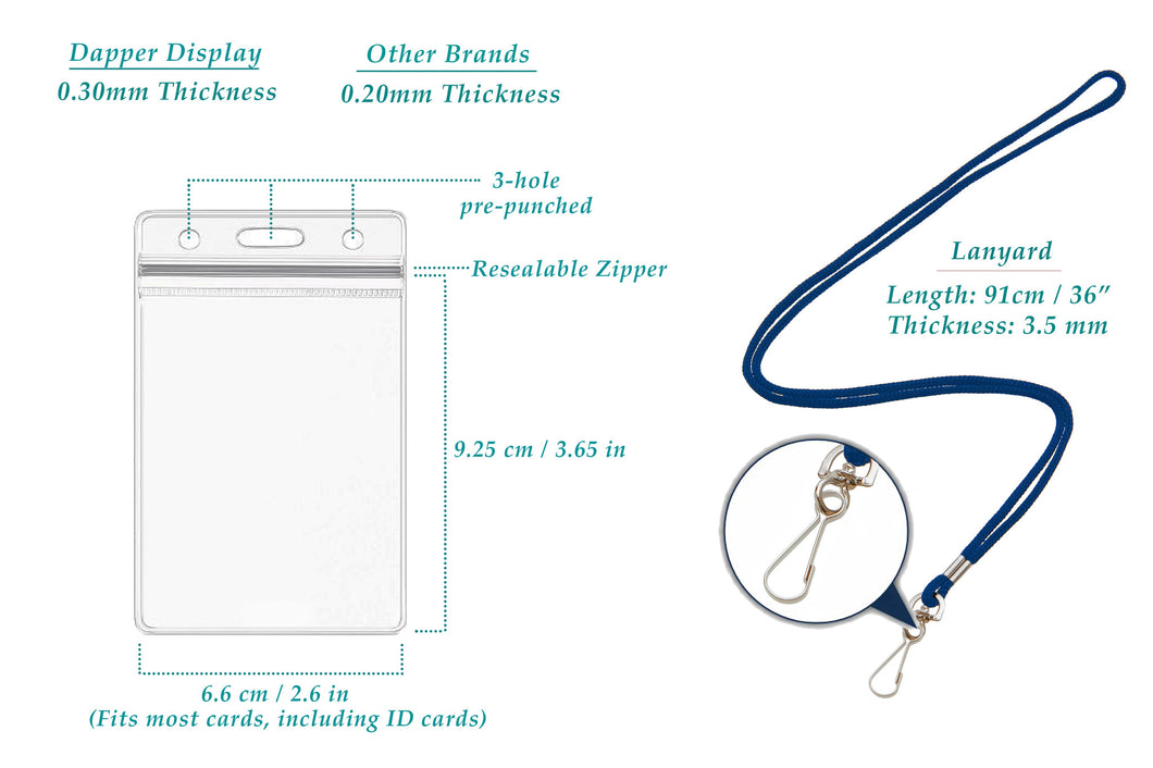 13cd098fe308 ID Badge Holders & Lanyards, 55 sets, BLUE Lanyard and VERTICAL Name ...