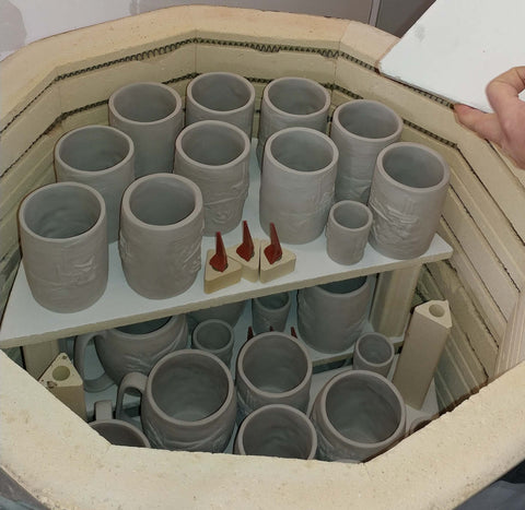 kiln loaded for bisque fire