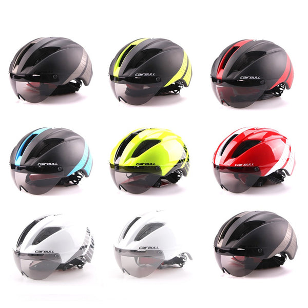 Cairbull 280g Aero Ultra-light Goggle TT Road Bicycle Helmet In-Mold Racing Cycling Bike Sports Safety Time-Trial Cycling Helmet