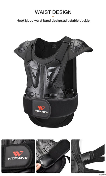 WOSAWE Adult Motorcycle Armor Vest Chest  Back Spine Support Body Protective Gear Motocross Snowboarde Skate Racing Skateboard
