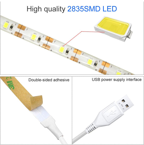 1 - 5M Super Bright SMD2835 Dimmable 5V Led  tape Dimmable Touch Sensor  Cool white/ warm white  DC USB  Strip Flexible light D4