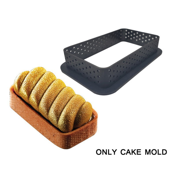 8Pcs Tart Mold Ring Mousse Circle Cutter Kitchen Decorating French Dessert DIY Cake Mold Perforated Non-Stick Bakeware Cake Tool