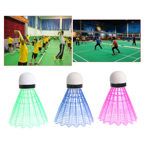 3pcs Dark Night LED Glowing Light Up Plastic Badminton Shuttlecocks Colorful Lighting Balls Indoor & Outdoor Sports