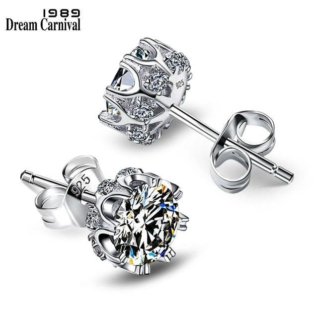 DreamCarnival 1989 Popular Style Sterling Silver 925 High Quality Zircon Stone White Luxury Daily Wear Silver Earrings SE10817R