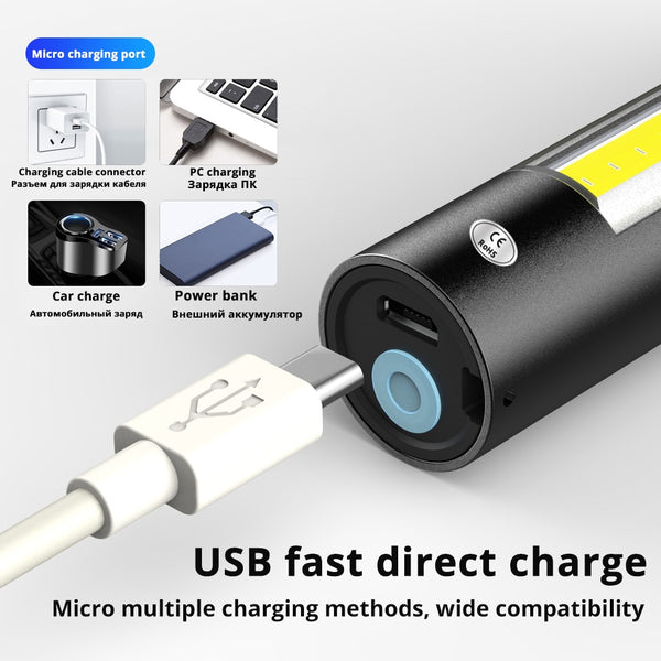 USB Rechargable Mini LED Flashlight 3 Lighting Mode Waterproof Torch  Telescopic Zoom Stylish Portable Suit for Night Lighting