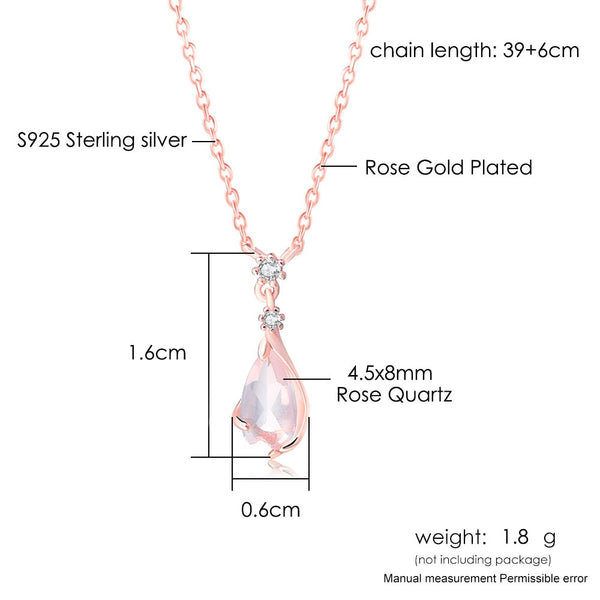 LAMOON 925 Sterling Silver Sakura Pendant Necklace Cherry Blossoms Petal Rose Quartz 18K Rose Gold Plated Fine Jewelry LMNI096