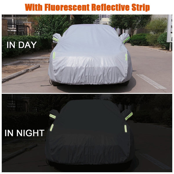 Car Cover Full Covers with Reflective Strip Sunscreen Protection Dustproof UV Scratch-Resistant for 4X4/SUV Business Car