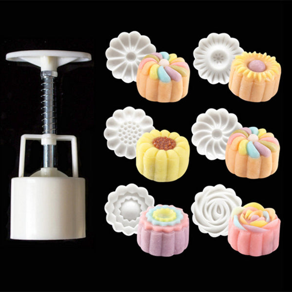 6 Style Flower Shaped Mooncake Mold Hand Pressure Fondant Moon Cake Decorating Tools Cookie Cutter Pastry Baking Tool