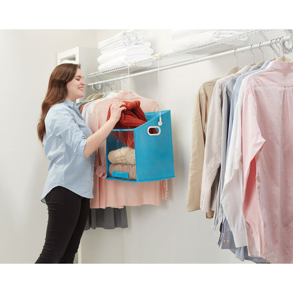 Closet Caddy Box Easy Lift - Storage Box with Removable Lifting Arm for Top Shelves and Cupboards