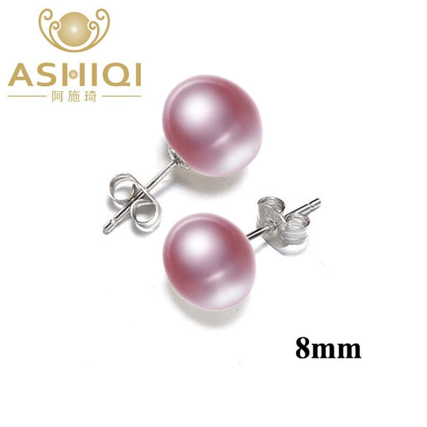 ASHIQI Natural Freshwater Pearl Stud Earrings For Women Real 925 Sterling Silver Jewelry Gift Wholesale