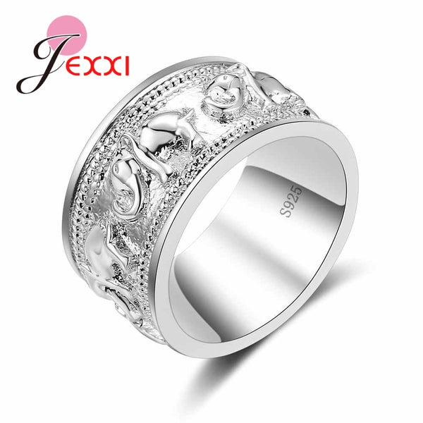 New Punk Trendy 925 Silver Ring For Lover Vintage Engagement Elephant Shape Steel Ring for Men & Women lord Wedding