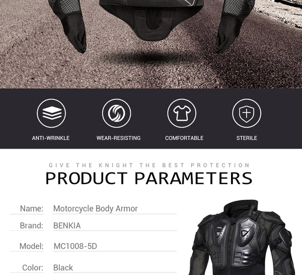 HEROBIKER Motorcycle Body Armor Motorcycle Armor Protection Moto Racing Body Protector Jacket Motocross With Neck Protector