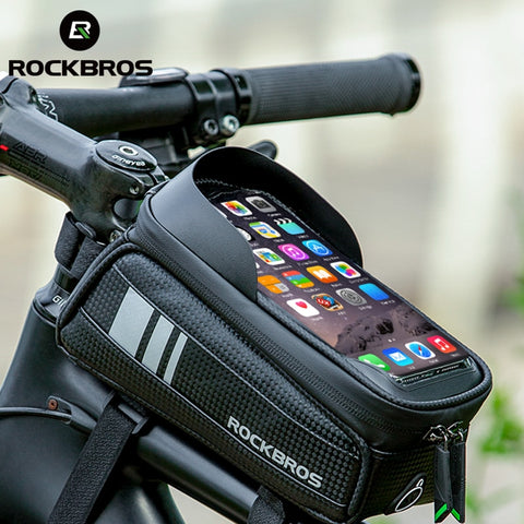ROCKBROS Bicycle Bag Waterproof Touch Screen Cycling Bag Top Front Tube Frame MTB Road Bike Bag 6.5 Phone Case Bike Accessories