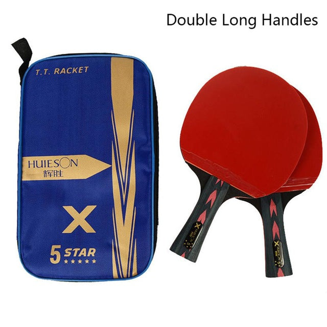 2pcs Upgraded 5 Star Carbon Table Tennis Racket Set Lightweight Powerful Ping Pong Paddle Bat with Good Control