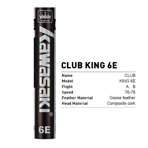 Club King 6E Shuttlecocks - 12Pcs