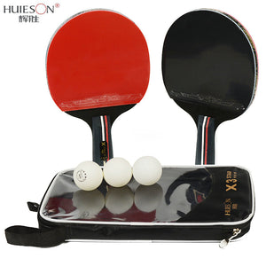 Huieson 2pcs/lot Table Tennis Bat Racket Double Face Pimples In Long Short Handle Ping Pong Paddle Racket Set With Bag 3 Balls