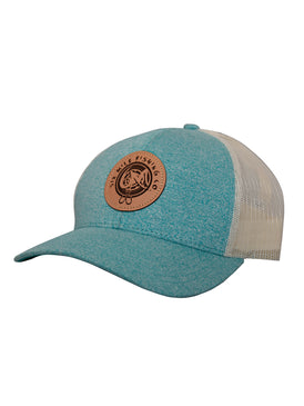 6MFC Heather Aqua, leather logo patch hat