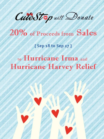 Cutestop Donates to Hurricane Irma and Hurricane Harvey Cause