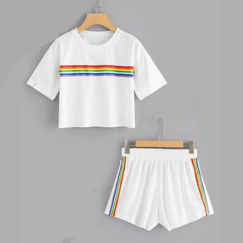 Workout Gym Unicorn Top Summer Style Street Short Rainbow Cute Colorful Color Casual