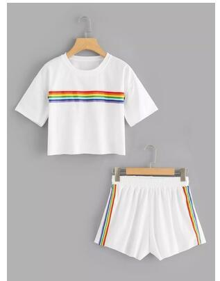Rainbow Summer Two Piece Outfit Set