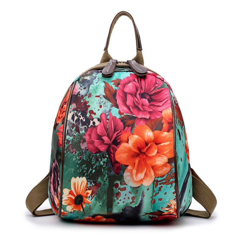 Japanese Floral Plane Paris Indie Boho Bag Backpack Travel Flowers Rose